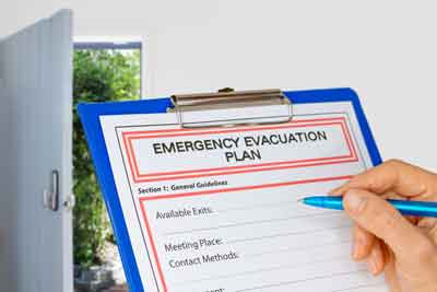 Clipboard with Emergency Evacuation Plan